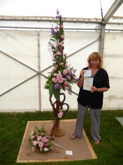 """Gill and her exhibit """"A Country Wedding"""""""